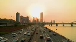 서울 한강대교의 일몰 풍경