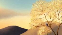 나무 위 부엉이와 노을이 지는 풍경