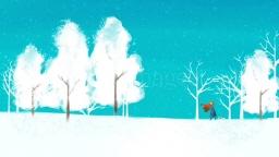 눈이 내리는 길 강아지와 여자