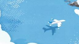 바다위를 날아가는 비행기