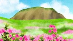 봄의 산과 철쭉 꽃 풍경