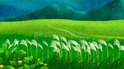 갈대 밭과 초록 산과 들판의 모습