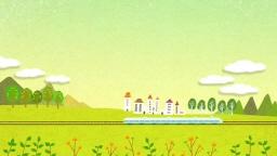 철도 위를 달리는 기차와 들판 풍경