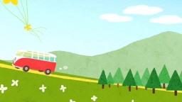 언덕 위를 달리는 빨간 버스의 모습