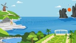 거제도와 바다 그리고 관광객의 모습