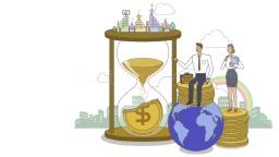 모래시계와 동전 위에 앉은 회사원 모습