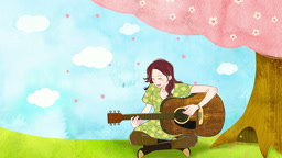 a10379189_벚꽃나무 밑에 앉아 기타 연주하는 여자 모습