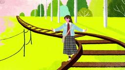 a10434925_2_벚꽃이 휘날리는 철길 위를 걷는 여자 모습