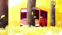 a11018134_은행나무길 버스정류장에 앉아있는 여자 모습