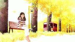 a11018134_2_은행나무길 버스정류장에 앉아있는 여자와 버스정류장에 도착한 버스 모습