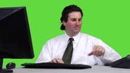 Junger Geschaeftsmann am Telefon - Green Screen Version --- Young business man taking a phone call - green screen version.