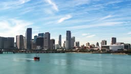Skyline of downtown Miami showing the American Airlines Arena