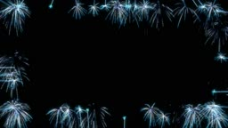 Loopable Blue Fireworks Frame over black. Alpha channel is included