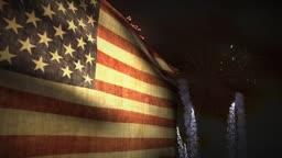 (1192) Fireworks Celebration USA American Flag Sunset Independence Memorial Veteran Summer Entertainment