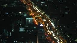 Night city traffic zoom time lapse 1