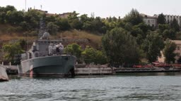 military ships in the bay of Sevastopol. View of the bay from the sea side