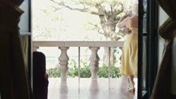 Elderly couple dancing outdoors