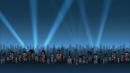 A slow zoom-in on a city skyline with numerous searchlights sweeping the sky