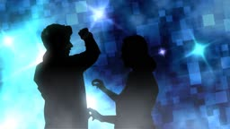 Silhouette of couple dancing with abstract background
