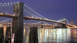 Evening time lapse of Brooklyn Bridge in New York