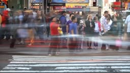 Time lapse of a crowded city crosswalk in New York City