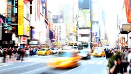Abstract, high-contrast time lapse of Times Square in the daytime