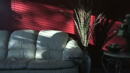 Time lapse of late afternoon shadows moving across a living room wall.