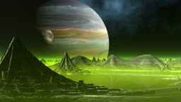 City of aliens. In the star sky the planet and the companion rotates
