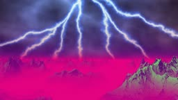 The lightning sparks over mountains. Mountains are shrouded by a red fog.