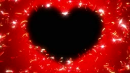 Red St. Valentine`s Day heart shape and sparkles