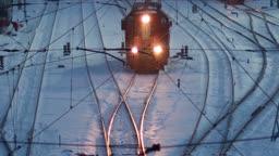 train in snowy night