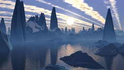 High pyramids among mountains are reflected in water. In the evening sky the bright moon and lines of clouds.