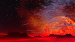 The huge incandescent planet rises because of horizon. Hills are shrouded by a red fog. In the night star sky clouds float.