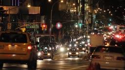 Traffic on New York City street, night shot