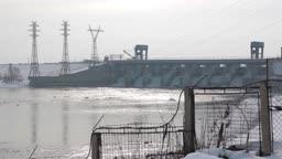 winter river, dam