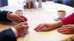 Marriage Proposal  in a coffee shop or restaurant