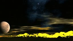 The huge planet flies against a fantastic landscape. In the night sky stars flicker and sparks the polar lights. Peaks of mountains are colored in yellow color.