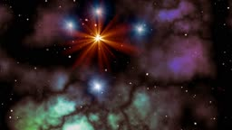 Orange and blue stars (UFO) fly in space against a fog. The orange star sparks and floods the sky bright light.