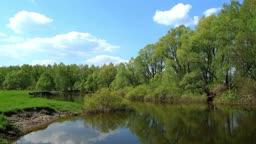 spring landscape of small rivers. Ukraine.