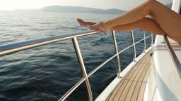 Female Feet on Luxury Yacht
