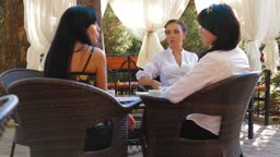 Female Excited Conversation in Outdoor Cafe