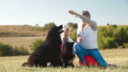 Mother and daughter having fun with their Newfoundland dogs on the nature