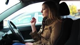 girl smoking in the car