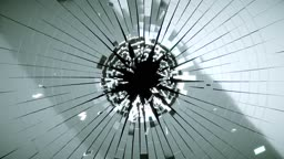 Bullet hole: Shattered glass with slow motion. Alpha is included
