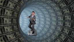 Businessman Surfing inside a Tube made of US Dollars