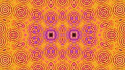 On a yellow background the pattern from rings slowly moves and changes a form and color. In the pattern center two flowers.