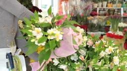 Woman Arranging Flowers In Flower Retail Shop