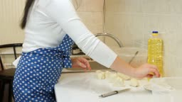Female Hands Cooking Ingredients For Meat Pasty