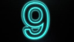 Animation of a Neon Countdown from 10 to 1
