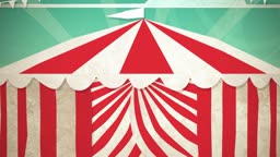 Dynamic graphic animation using paper cutout styled elements to illustrate a circus tent opening. High definition 1080p. This is one of a suite of simple paper cutout style animated illustrations which have similar dynamics. Please check my portfolio for